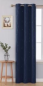 wave dot foil print pattern blackout curtains 84 inch long