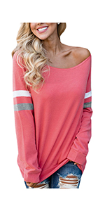 Women's Striped Round Neck Long Sleeve Loose Fit T-Shirts with Crossed Front Design Blouse Tops