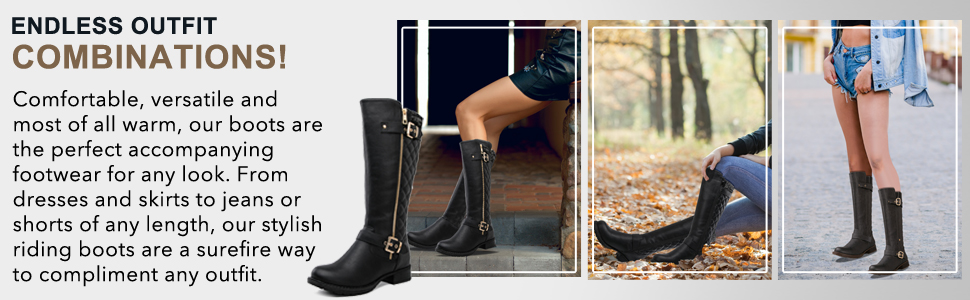 Riding boots with round toe