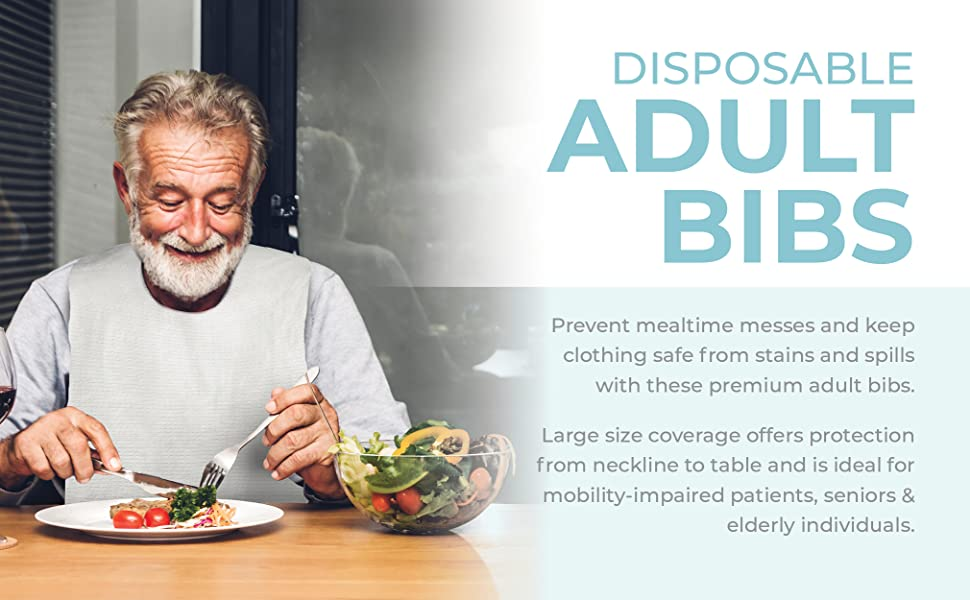 Disposable adult bibs clothing protector men women size dining protectors for elderly large