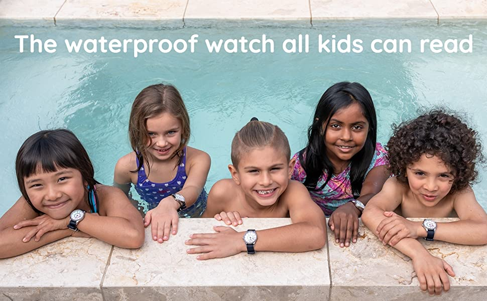 five kids in a swimming pool