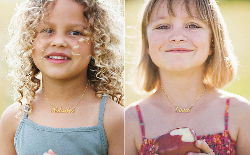 Personalized necklace gold custom name necklace for women girls kids child personalized gifts