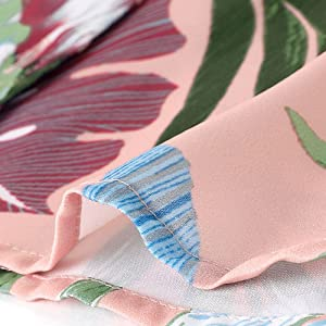 Women's Hawaiian Floral Leaves Printed Shirt Short Sleeve Button Down Vintage Beach Top Blouse