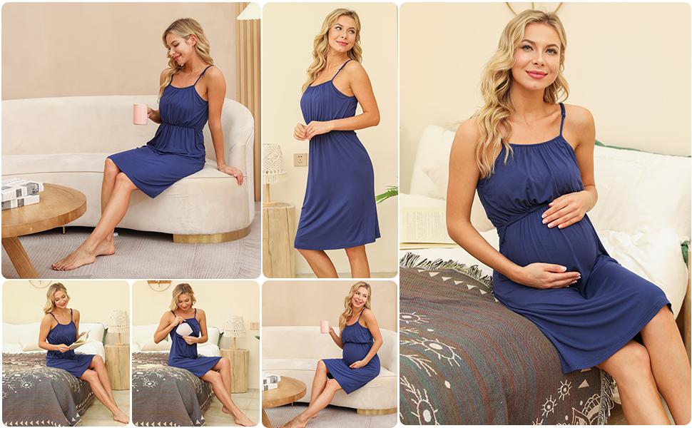 Women's Maternity Dress Nursing Nightgown Breastfeeding Hospital Gown Full Slips Sleepwear