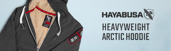 Hayabusa Arctic Hoodie Black Sherpa fur lined Logo Banner