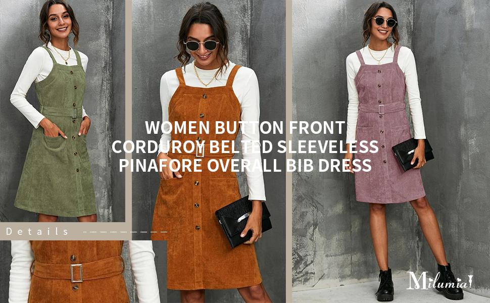 Milumia Women Button Front Corduroy Belted Sleeveless Pinafore Overall Bib Dress