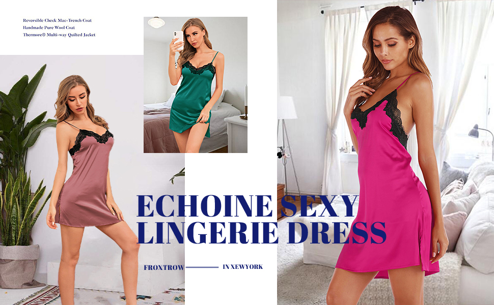 ECHOINE women sexy lace chemise nightgown