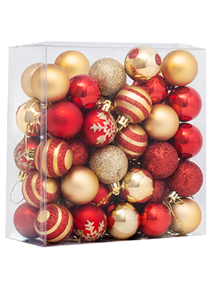 PuzFun Christmas Ball Ornaments 36ct Black and Gold 1.57-Inch Small Indoor Christmas Party Decorations Xmas Ball for Halloween Christmas Decoration Tree
