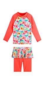 Girls swimsuit with ruffler skirt