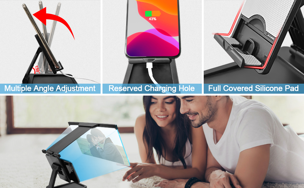 Cell Phone Stand for Desk 12'' 3D HD Phone Screen Amplifier