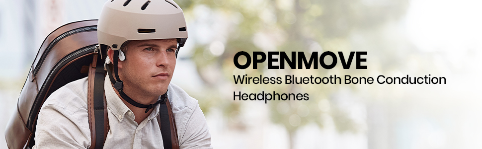 AfterShokz OpenMove wireless, open-ear, bone conduction headphones