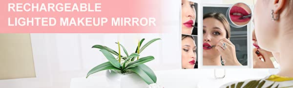 rechargeable lighted makeup mirror