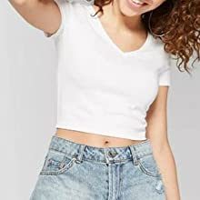 crop top round neck sort sleeve white cute sexy crop womens uk