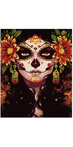 sugar skull girl ancient mexican cosmetic makeup colorful day of dead green flower black white