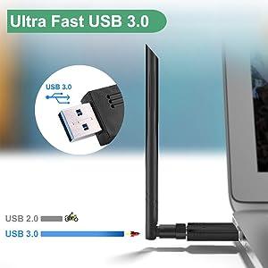 WiFi Adaptador AC 1200Mbps Antena WiFi Doble Banda 5GHz/867Mbps 2.4GHz/300Mbps Receptor Inalámbrico USB para PC/Laptop/Desktop Soporte Window ...