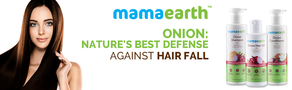 Mamaearth Anti Hair Fall Spa Range with Onion Hair Oil + Onion Shampoo + Onion Conditioner