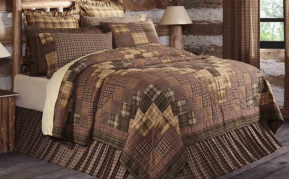 Prescott Quilt traditional primitive country rustic Americana VHC Brands patchwork bedding cotton