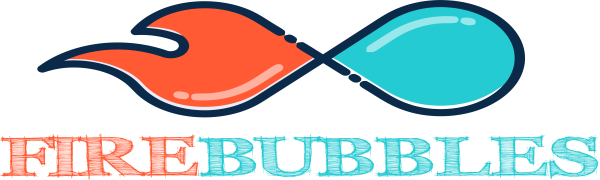 Firebubbles brand logo fire fading into a water drop with firebubbles printed underneath