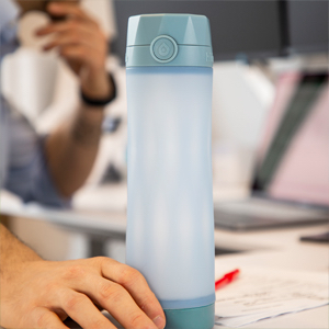 hidrate spark 3 smart water bottle closeup, gray blue color, stylish, eye-catching, slim design