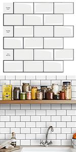 3D Peel and Stick Tile Backsplash Subway White Tile Sticker Self-Adhesive Wallpaper