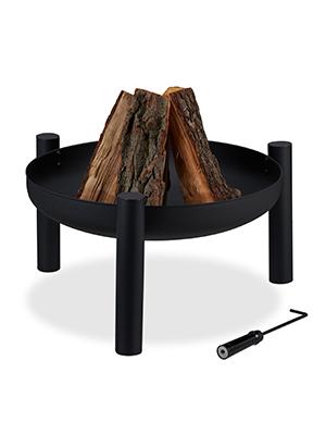 inkl schwarz Garten /& Terrasse Sch/ürhaken Relaxdays Feuerschale Feuerkorb Outdoor Feuerstelle /Ø 60 cm Stahl