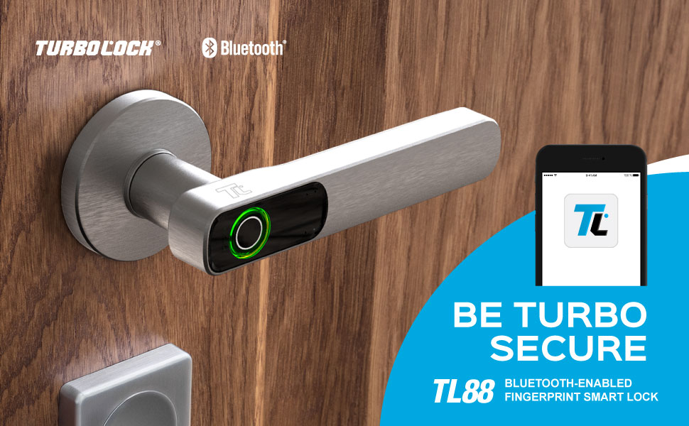 TURBOLOCK TL88 App-Enabled Fingerprint Smart Lock—One-Touch Security Solution for Home or Office