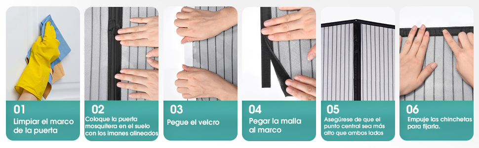 autoadhesiva Mosquitera mosquitera magn/ética para ventana cortina de malla antimosquitos gancho y desmontaje