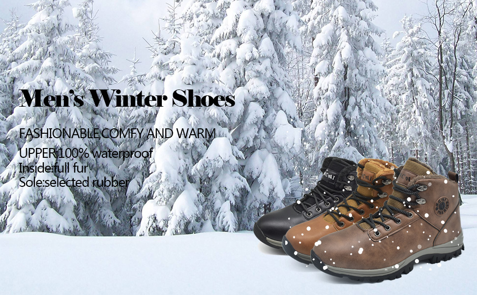 ONCAI Snow Boots Mens Leather Outdoor Walking Shoes Faux Fur Warm Winter Booties Winter Shoes for Men