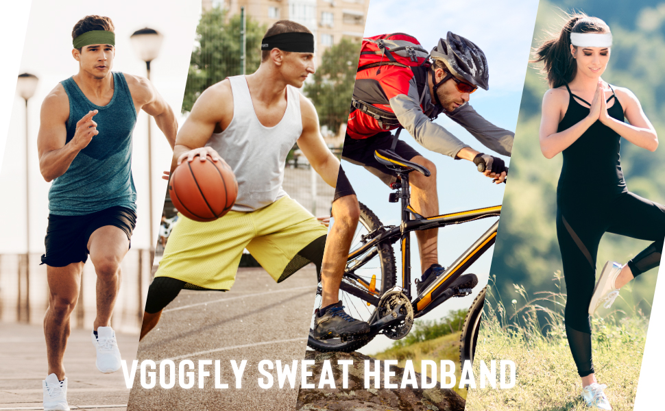 Vgogfly Sweat Headbands for Men Sweatbands Sports Head Band Running Boy Sweat Bands Workout Hairband