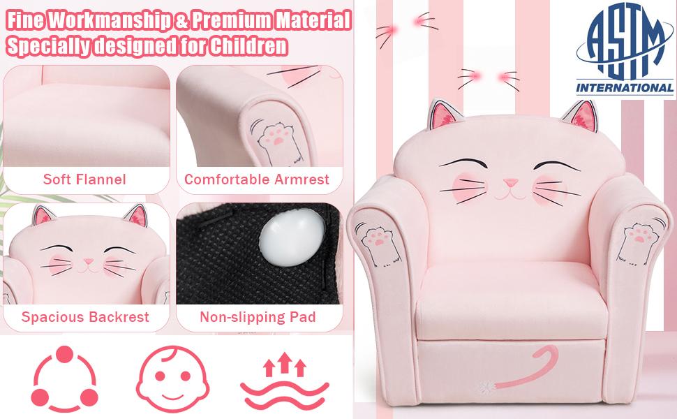 children armrest chair with soft flannel, comfortable armrest, spacious backrest, non-slip pad