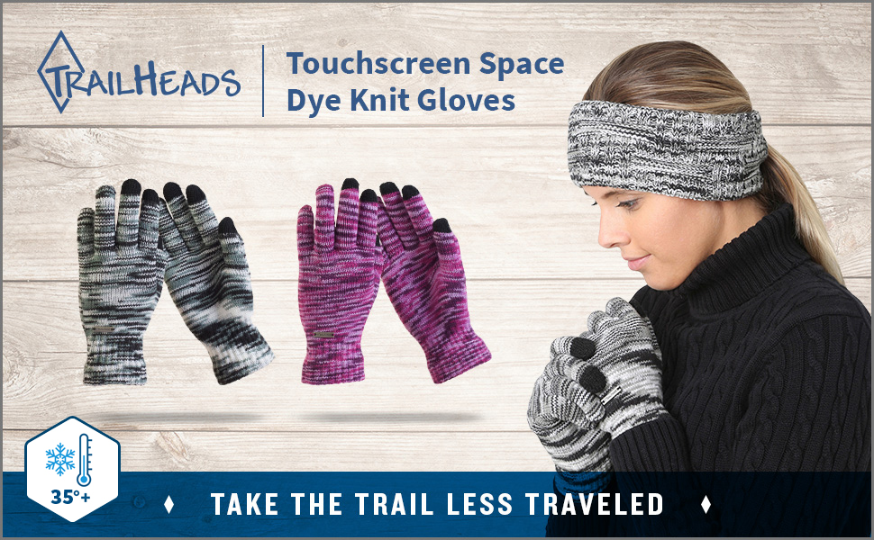 womens space dye knit gloves. Gloves available in black and white or purple space dye patterns.