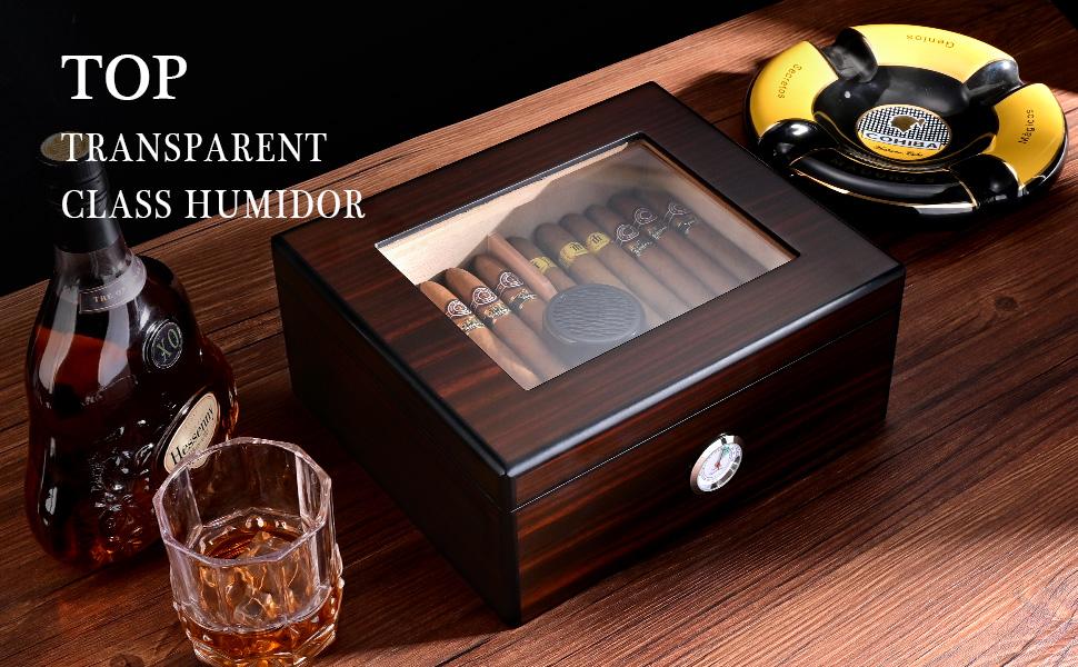CIGARLOONG Humidor de cigarros de cedro español caja de escritorio transparente ventana superior con higrómetro y humidificador accommdater 50 puros