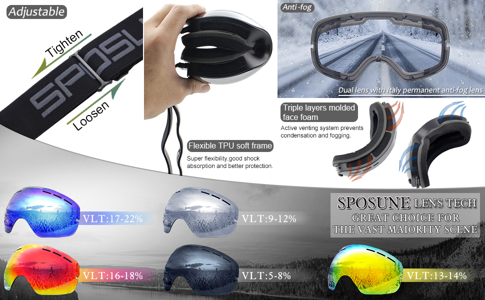 sancuanyi Unisex Ski Goggles Snowboard Goggles Double Lens Anti-Fog and UV Protection for Snowboarding Skiing Motorcycle Bike Skating