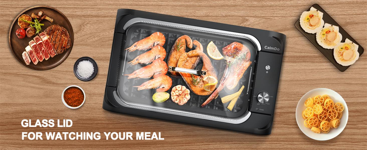 electric grill with glass lid