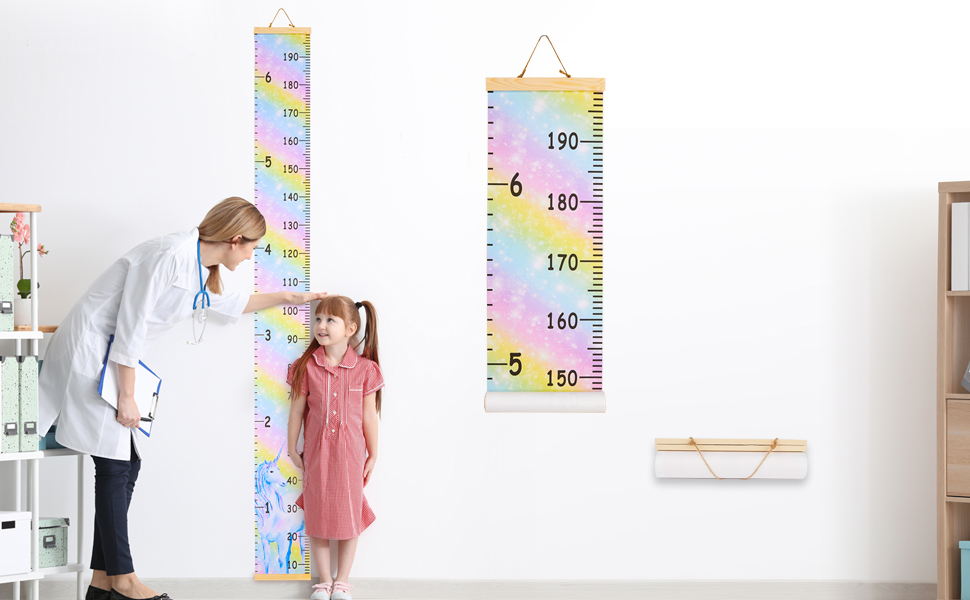 79 x 8.3 Inches 79 x 8.3 Inches Bedrooms B Cartoon Patterns Wall Decor Kid Growth Chart Canvas /& Wood Wall Ruler for Boys /& Girls Great for Nurseries