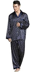 YAOMEI Mens Pyjamas Set Satin Long, Mens Silky Long Sleeves Nighties Couples Sleepwear Nightwear