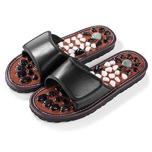 Black color stone massage slippers