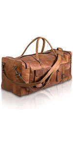 Leather Duffel Bag 32 inch Large Travel Bag Gym Sports Overnight Weekender Bag