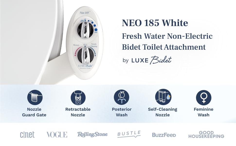 NEO 185 White - Fresh water non-electric bidet toilet attachment by LUXE Bidet