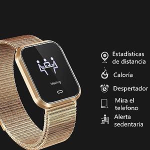 Febelle Reloj Inteligente Pulsera IP67 Impermeable Gimnasio Presión Arterial Oxígeno Ritmo Cardíaco Deportes Rastreador Compatible Android iOS Estilo ...