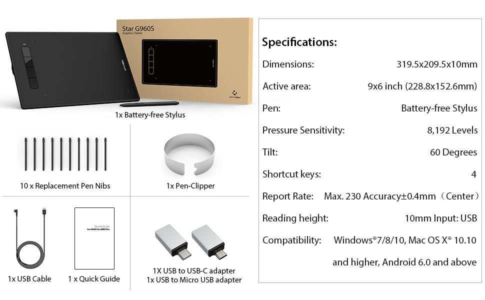 XP-PEN G960S Plus Tableta Gr/áfica de 9x6 Pulgadas con 4 Teclas de Acceso Directo 8192 Presi/ón del l/ápiz Tableta para Dibujar
