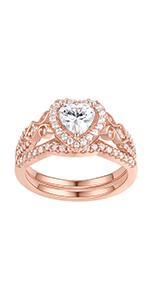 Newshe Rose Gold 1.7Ct Heart Wedding Rings for Women BR0976