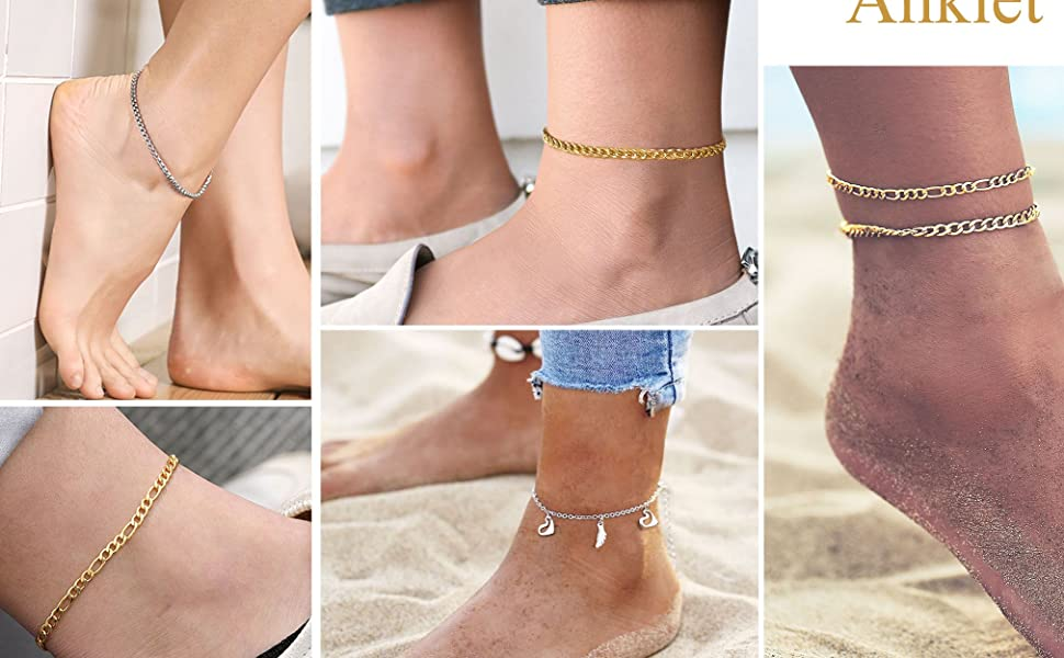 with Jewelry Box FindChic Curb//Figaro//Box Chain Ankle Bracelets for Women or Girls Beach Foot Jewelry 8.5-10.5 Adjustable Anklet Link Chains