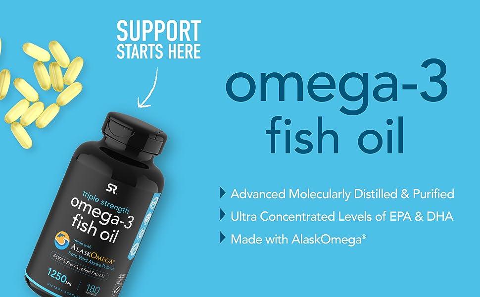 Sports Research Omega 3 Fish Oil EPA DHA distilled purified softgels alaskomega