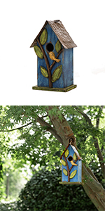 9.84''H Distressed Solid Wood Birdhouse w/Leaves