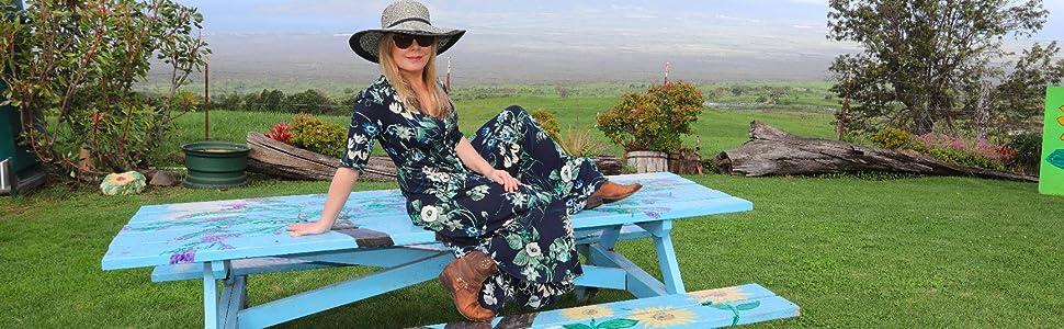 Women Casual Dress Vacation Boho V Neck Floral Print Long Dresses
