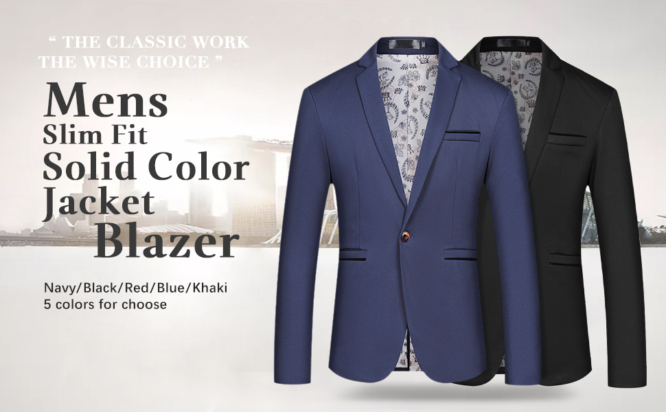 men's one button solid color suit jacket in blue,red,black,navy,khaki