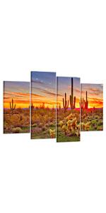 southwestern wall decor sunset photo canvas cactus canvas wall art, wrapped photo