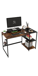 47'' Computer Desk with Shelves and Monitor Stand