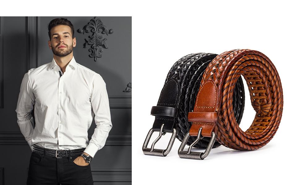 men leather belt black